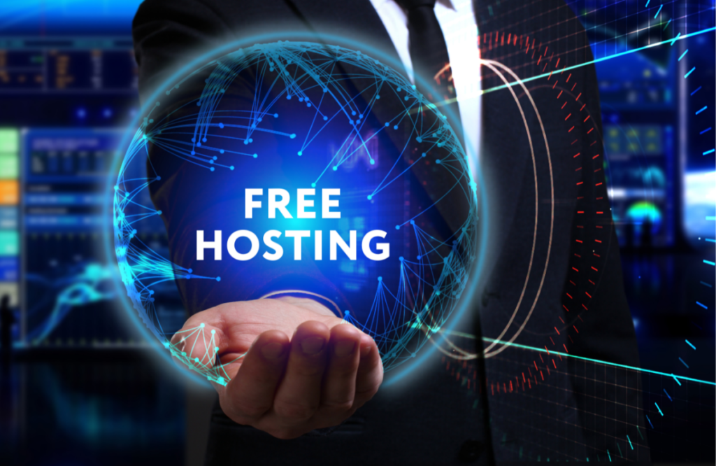 An image showing a free hand, and indication of free web hosting.